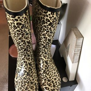 Shoes - Cheetah Rain boots size 8